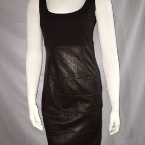 TERI JON Combo Lined Dress Rayon Leather Skirt